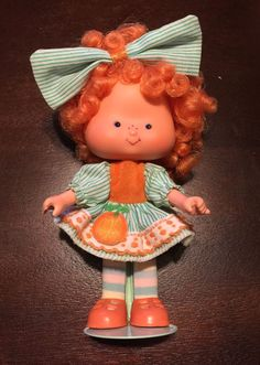 Vintage Brazilian Strawberry Shortcake Little Orange Knot Of Ribbon Brazil Doll #Dolls