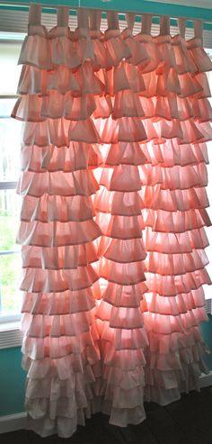 Ruffled Pink Curtain. $180.00, via Etsy.