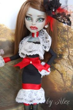 "OOAK Art Doll Monster High Repaint and Custom""Vampirella Widow"" by Alex 