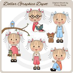 Primsy Girls Clip Art, by Primsy Resale - Only $1.00 at www.DollarGraphicsDepot.com : Great for printable crafts, scrapbook pages, web graphics, greeting cards, party invitations, candy bar wrappers, gift bags / boxes, gift tags / labels, iron-on transfers, embroidery patterns, and lots more!