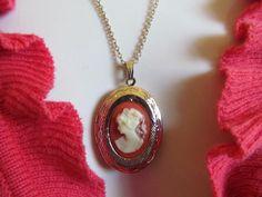 1980s Cameo locket  jewelry pendant necklace fashion by lolatrail, $6.00