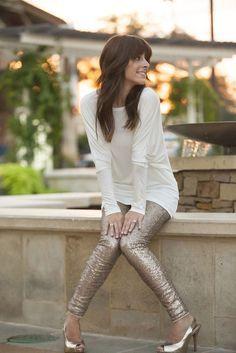Sequin leggings, long loose sweater shirt
