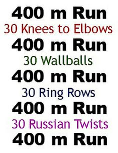 400 m Run 30 Knees to Elbows/Toes to Bar 400 m Run 30 Wallballs 400 m Run 30 Ring Rows 400 m Run 30 Russian Twists 400 m Run Trx, Rower Workout, Crossfit Chicks, Crossfit Workouts At Home, Functional Workouts, Ultimate Workout, Russian Twist, Travel Workout, Circuit Training