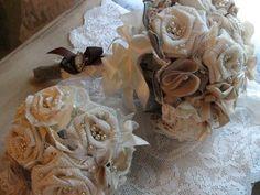 Vintage Fabric Flower Bridemaids Bouquet, Rustic, Shabby Chic, Heirloom, Burlap, Linen, Antique Lace, Eco- Friendly. $60.00, via Etsy. Burlap Flower Bouquets, Wedding Events, Wedding Ideas, Antique Lace, Wedding Wishes, Fabric Flowers, Shabby Chic, Rustic, Flower Ideas