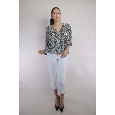 Couture Silk Chiffon Blouse White Denim Capri Pants