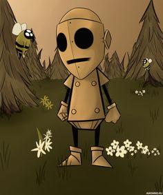 Робот WX-78 наблюдает за пчёлами в Don't Starve — Скачать картинки