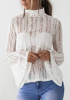 White Patchwork Lace High Neck Long Sleeve Fashion Blouse