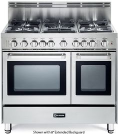 """VEFSGG365NDSS 36"""" Pro-Style Gas Range with 5 Sealed Burners, 2 Turbo-Electric Convection Ovens, Manual Clean, Infrared Broiler, Bell Timer and Storage Drawer in Stainless Steel"""