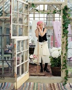 greenhouse,  dutch doors made from window sashes!