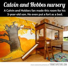 Calvin and Hobbes tree fort bedroom. I am a HUGE Calvin and Hobbes fan. This is awesome! Bedroom Themes, Nursery Themes, Kids Bedroom, Themed Nursery, Bedroom Designs, Bedroom Ideas, Nursery Murals, Bedroom Decor, Master Bedroom