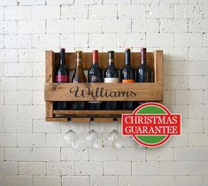 Personalized Wine Rack - Wall Hanging Personalized Gift - Family Name Wood Wine Holder - Organizer - Gift (affiliate) Wall Hanging Wine Rack, Cheap Wedding Gifts, Gift Wedding, Wine Names, Wine Country Gift Baskets, Rustic Wine Racks, Red Wine Glasses, Wine Glass Holder, Cheap Wine