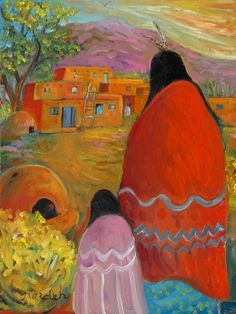 Paintings by Marilu: Vibrant Spirits of the Southwest Working with a vibrant palette using a variety of media, Marilu Norden invites the viewer to Southwestern Paintings, Mexican Paintings, Southwestern Art, Paintings I Love, Native American Paintings, Native American Artists, Native American Indians, American Indian Art, Mexican Art