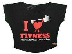 Blusas Femininas | Blusa Cropped Costas Rasgadas I Love Fitness Melhor Chorar Do que Suar Preta  Acesse: http://www.spbolsas.com.br/atacado/ #Regatas #Femininas #Atacado