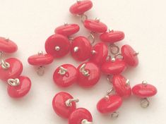 10 Pcs Coral Rondelle Beads Wire Wrapped Gemstone by gemsforjewels