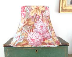 """French Floral Lamp Shade, Lampshade Peacock Blue Amazing Vintage Fabric, 7"""" top x 12"""" bottom x 9.5"""" high - To Die for Fabric - Swoonable!! by lampshadelady on Etsy"""