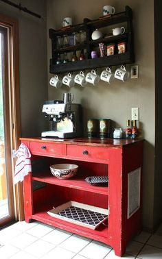Best DIY Coffee Station Ideas For All Coffee Lovers Repurposed Cart Coffee Bar Coffee Nook, Coffee Bar Home, Home Coffee Stations, Coffee Corner, Coffe Bar, Coffee Wine, Coffee Mugs, Beverage Stations, Night Coffee