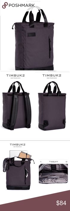 Timbuk2 Heist Tote-Pack Pre-owned but only used a few times. Just very slight signs of wear on the bottom (see pic) but other than that excellent condition. A go-everywhere convertible tote for grocery runs, commutes & more. Converts seamlessly from a handsome tote into a campus-ready backpack. Solid waterproof base, ziptop, front magnetic slip pocket. Timbuk2 Bags Backpacks