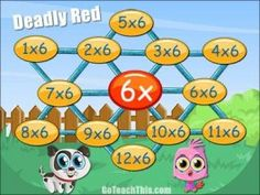 Multiplication Game - 2 Times Table to 12 Times Table - Deadly Red 12 Times Table, Relief Teacher, Multiplication Games, Classroom Organisation, Math Stations, Table Games, Board Games, Teaching, Casual