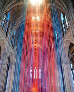 Artists @AnnePatterson5 and Kina Park installed 20 miles of satin ribbon inside San Francisco's Grace Cathedral as part of Graced With Light-The Ribbon Project in 2016. : Fiestaban Photography. @sandow