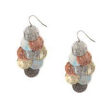 Mixed Antique Metal Textured Circles Waterfall Drop Earrings