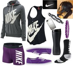 Love this teen outfit. I would totally wear it for volleyball. Nike elites, sweatshirt, spandex, vans.