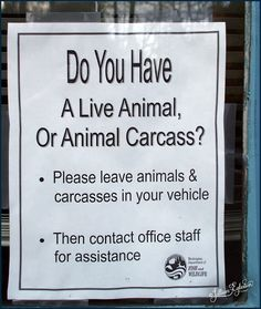 This sign was found on the window at an office of the Washington State Department of Fish and Wildlife... I can only wonder what must have happen that required the posting of such a sign... Once was enough...