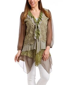 Look at this Light Green Lace Ruffle Long-Sleeve Linen-Blend Top on #zulily today!