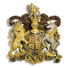 A century, Victorian parcel-gilt and polychrome painted English Royal coat of arms English Coat Of Arms, Buckingham Gate, Order Of The Garter, Zinn, Her Majesty The Queen, Medieval, Vintage Keys, Gold Gilding, Family Crest
