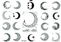 100pcs/lot Tattoo stickers waterproof male Women moon tattoo black ...