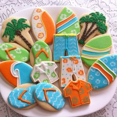 Beach cookies by Vanilla Art Cookies