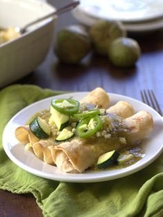 white bean enchiladas verde with roasted corn and zucchini white bean ...