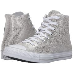 Converse Chuck Taylor All Star Stingray Metallic Hi (Pure... ($80) ❤ liked on Polyvore featuring shoes, sneakers, black and white trainer, lace up sneakers, black white sneakers, star sneakers and lacing sneakers