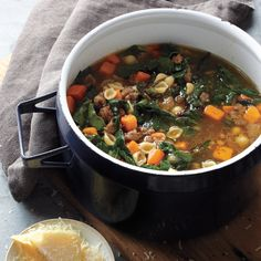 Sweet potatoe and sausage soup. If you like a little heat, swap in spicy Italian sausage for the sweet.