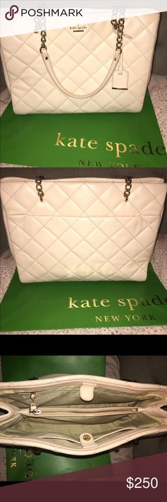 Kate Spade Emerson Phoebe Soft Rosette Absolutely gorgeous Kate Spade shoulder bag. Emerson Phoebe.Large size.Quilted look.Color is soft rosette, which is a light pink color.In great condition still, with some sign of wear around the corners of the bottom. There are a couple of scratches on the front in one area as you can see in the photo. But you can't really tell when you're carrying it! Beautiful interior with middle compartment, zipper pocket on one side&2 regular pockets on the…