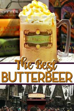 Make Frozen Butterbeer just like the Frozen Butterbeer in Harry Potter World at Universal Studios This is the best copycat recipe ever Easy to make and we have a hot butt. Harry Potter Party Food, Harry Potter Drinks, Harry Potter Butterbeer, Harry Potter Recipes, Harry Potter Treats, Frozen Butterbeer, How To Make Butterbeer, Butterbeer Recipe Universal, Milkshakes