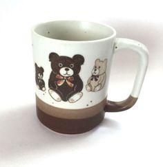 Teddy Bear Mug Three Bears Beige Brown Spatter Embossed 3D Cocoa Coffee Cup #CoffeeMugCup