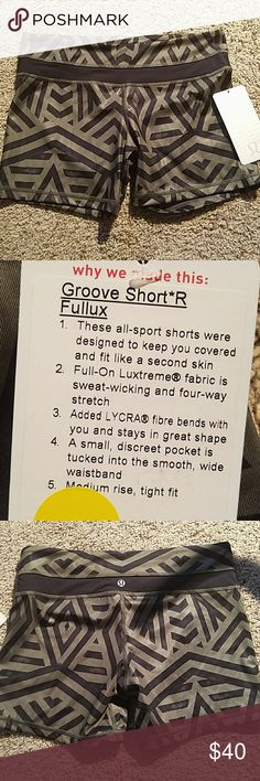 NWT Lululemon Groove Shorts NWT Groove Short Regular Fullux, Size 8.  No trades, lowballers will be blocked immediately. lululemon athletica Shorts
