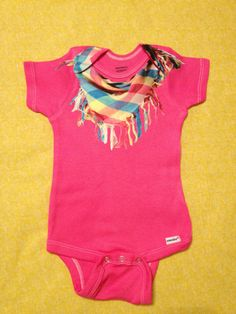 Baby girl multi colored scarf hipster onesie