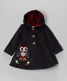 Navy Christmas Owl Coat - Toddler & Girls by Maria Elena on #zulily