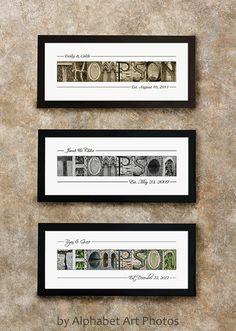 LAST NAME SIGN - Home Decor - Alphabet Photo Letter Art - Wall Art - Wall Decor - Framed Print