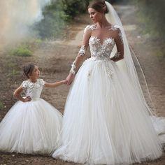 Barato Sheer manga comprida Lace apliques querida princesa vestidos de casamento…
