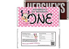 Baby Minnie Mouse 1st Birthday Candy Bar Wrappers for Party Favors