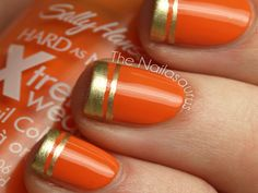 Gilded Tips Nail Art  Double lines of gold are a gorgeous contrast to creamsicle-colored nails. Head over to The Nailasaurus for the easy how-to.