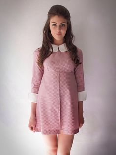 Vtg 1960's Repro Pink polkadot dress, collar, mod, scooter, 6,8,10,12,14,16