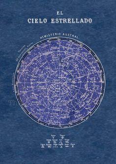 Celestial Chart  Stars Southern Hemisphere Constellations Print  Vintage Image. $22.00, via Etsy.
