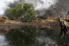 Nigeria's politicians hail the Oil companies like Shell as heroes, helping to boost their nation's GDP exponentially. They then fail to recognize the negative effects of this unchecked industrialization. The vast majority of oil profits flows directly out of the country or to the pockets of a select few government officials. The unregulated oil drilling has also lead to numerous oil spills that have been detrimental to the environment of the nation.