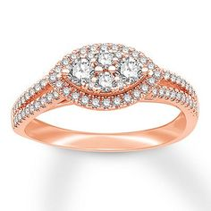 A tapered oval of sparkling round diamonds forms the center of this beautiful engagement ring. More diamonds line the split-shank band to complete the look. Crafted of rose gold, the ring has a total diamond weight of carat. Beautiful Engagement Rings, Beautiful Rings, Diamond Engagement Rings, Bridal Rings, Wedding Rings, Wedding Gowns, Ruby Pendant, Indian Wedding Jewelry, Green Diamond