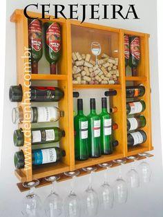 adega de madeira 15 vinhos porta taças porta rolhas promoção