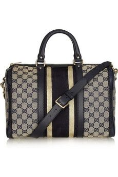 Gucci|Leather-trimmed canvas bowling bag|NET-A-PORTER.COM - StyleSays