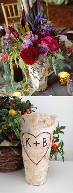 "Personalized Birch Bark Vase, Birch Bark Vase, Tall Rustic 9"" Vase, Custom Birch Planter, Wedding Centerpiece, Birch Bark Centerpiece"